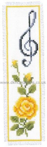Rose With Treble Clef Bookmark Cross Stitch Kit